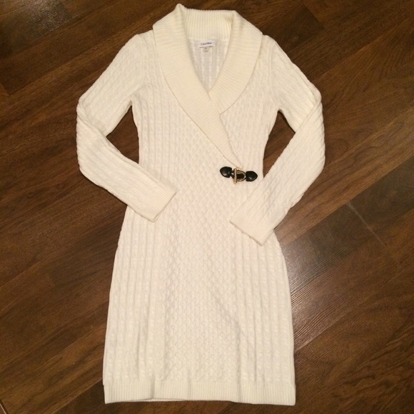 8e302c905ae Calvin Klein Dresses   Skirts - Calvin Klein Off White Cable Knit Sweater  Dress